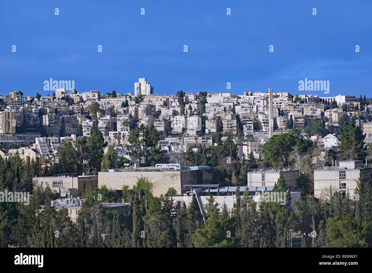 West Jerusalem hillside skyline with modern apartment buildings, with Hebrew University Givat Ram campus in foreground - Stock Image