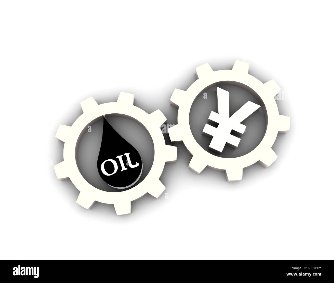 Exchange of RMB and oil, oil and renminbi, energy money, currency symbols and gears - Stock Image