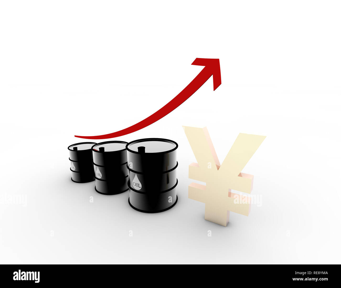 RMB and oil, energy and money, oil and RMB appreciation - Stock Image