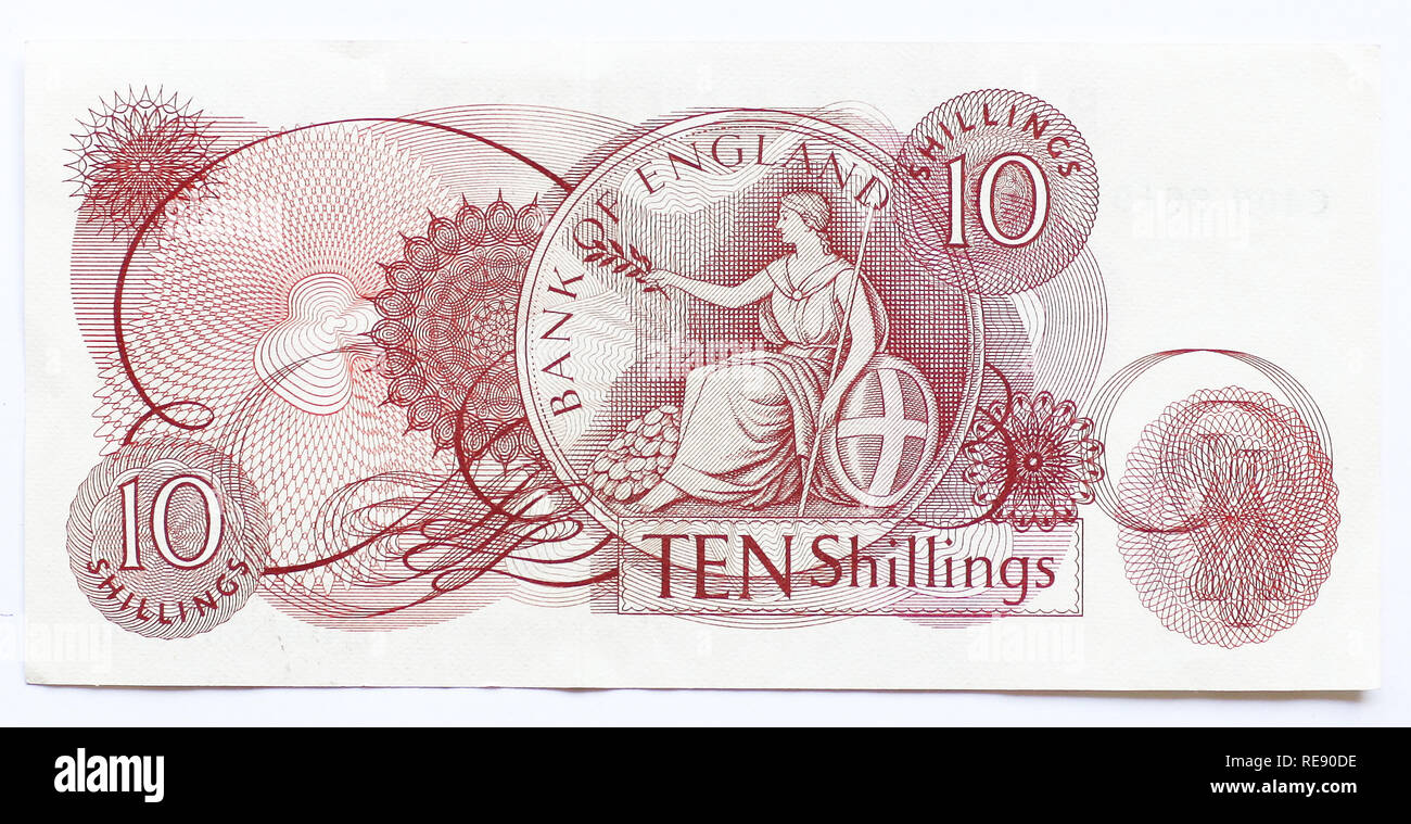 Ten Shilling note issued by the Bank of England (no longer in circulation) - Stock Image