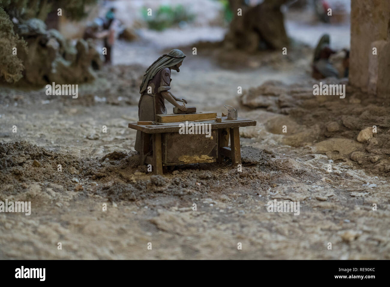 Cuenca, Ecuador - January 3, 2019 - Largest animated nativity scene in South America - woodworker animated at his bench - Stock Image