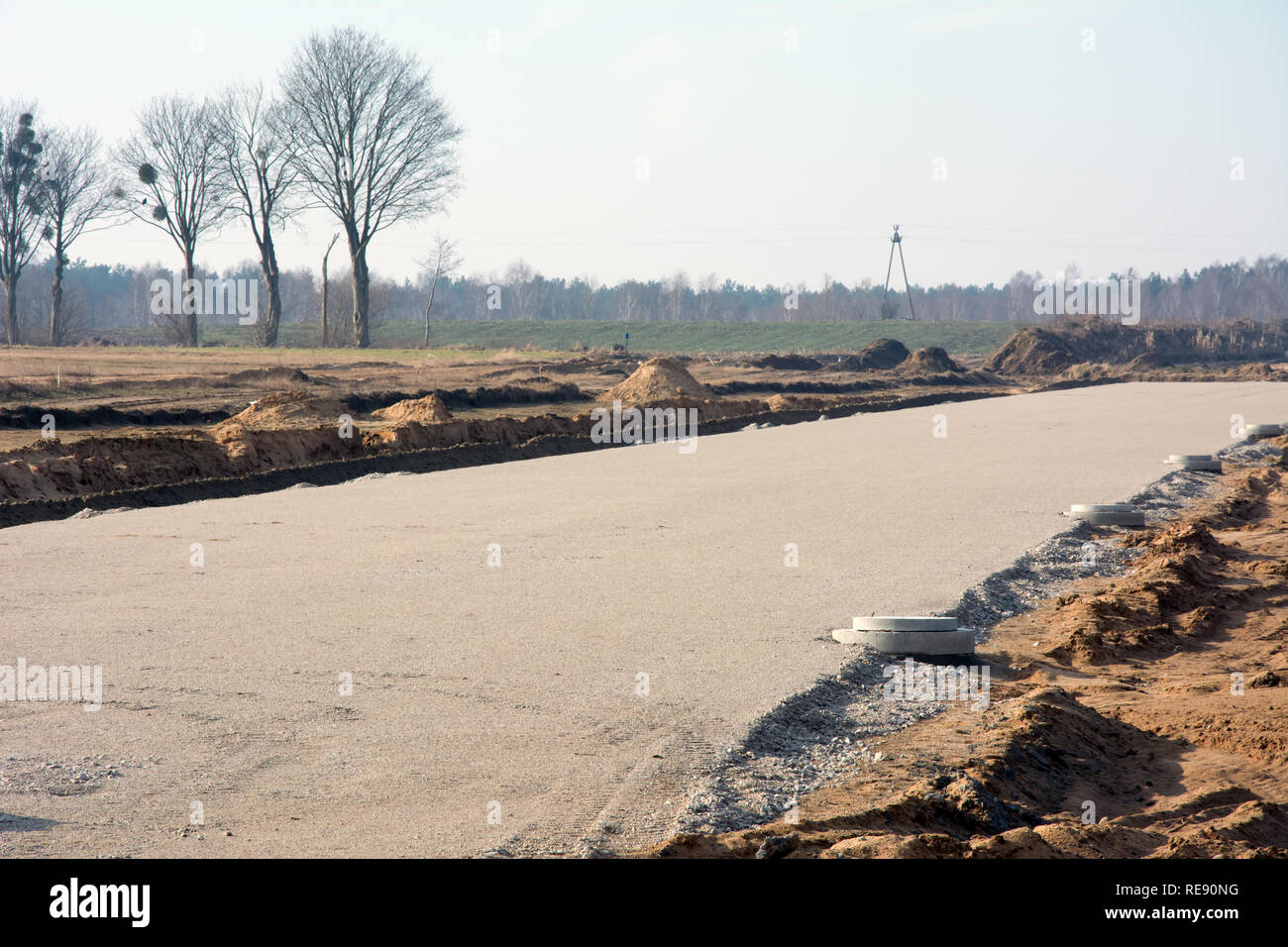 KOWALEWO, KUJAWSKO-POMORSKIE/POLAND - MARCH 11, 2018 - Construction site of S5 highway - gravel substructure with drains - Stock Image