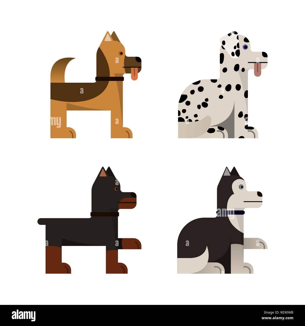 Dogs stand and sit. Doberman, shepherd, husky and dalmatian. Vector illustration. Flat icons set - Stock Vector