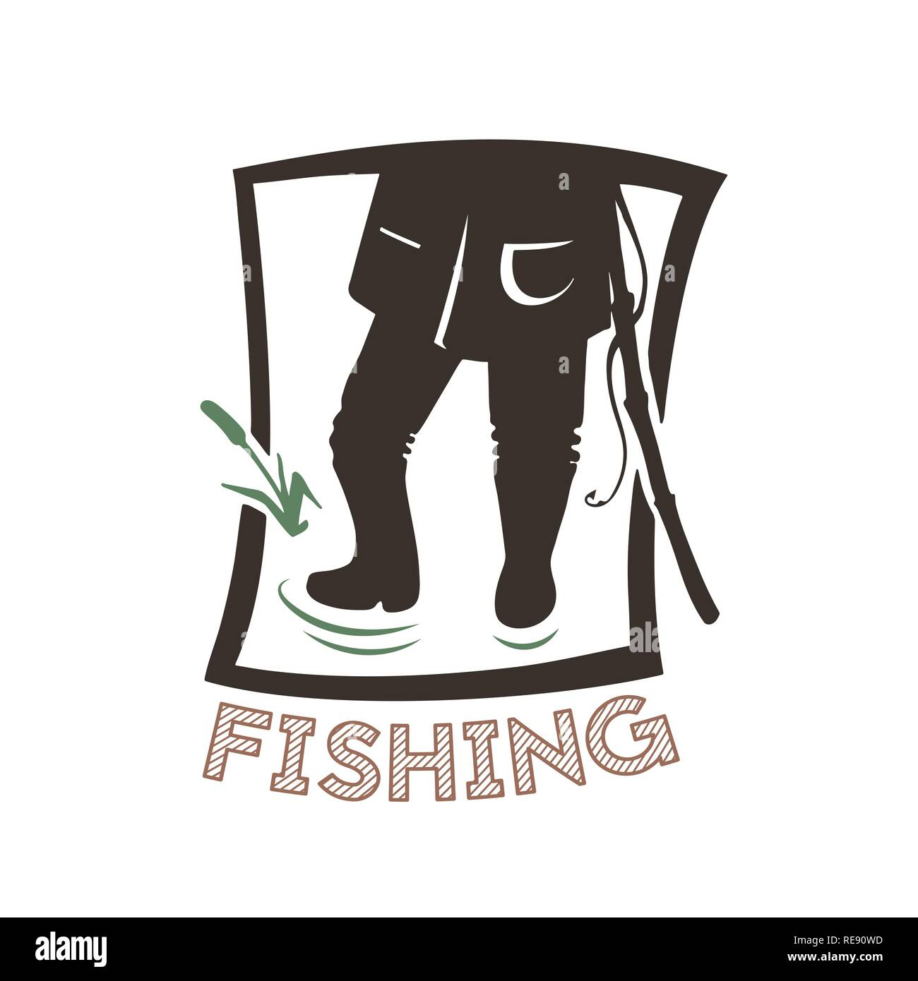 Silhouette of angle. Vector illustration icon. Logo of the fishing shop. - Stock Image