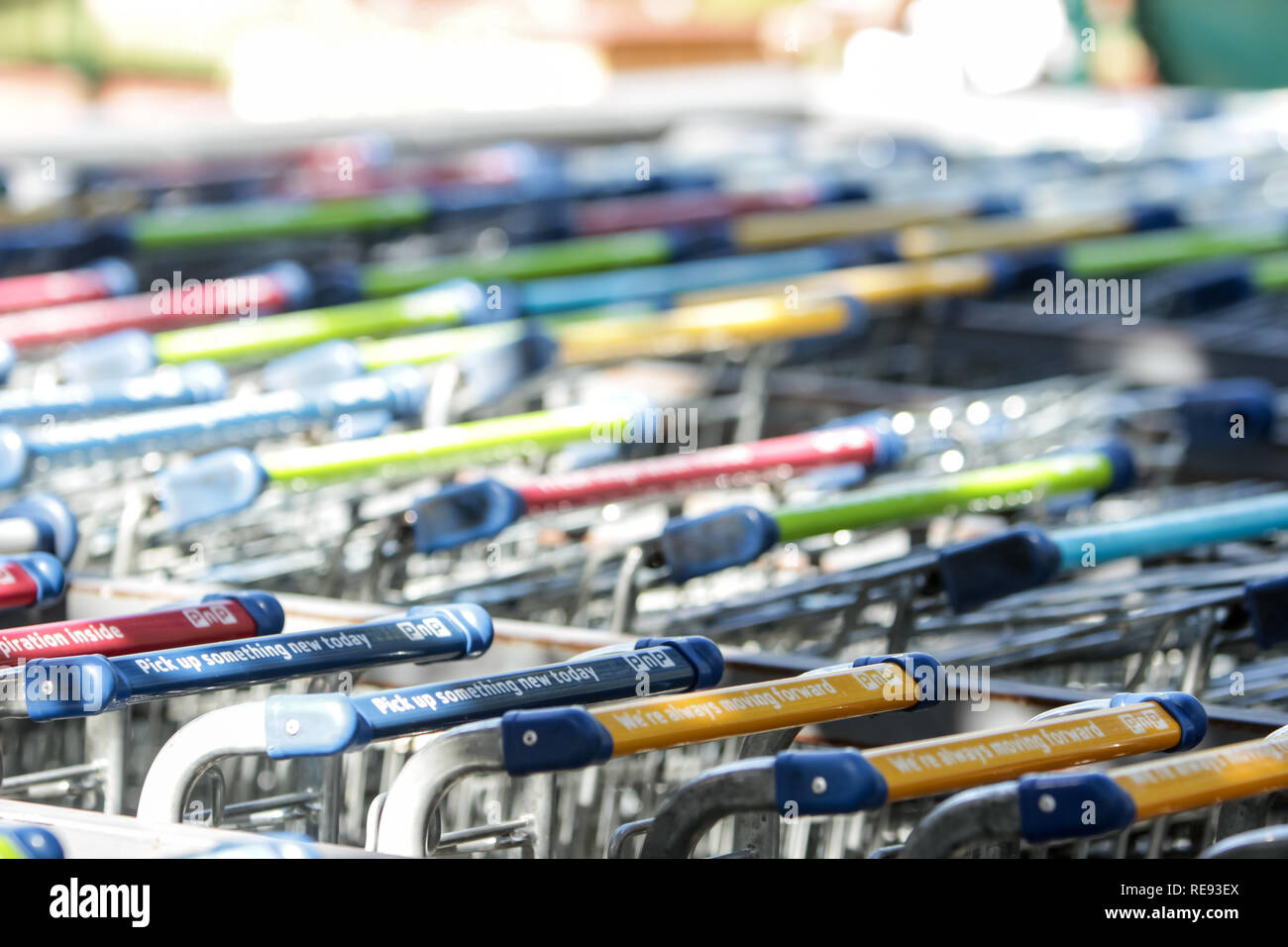 Parked trolleys - Stock Image