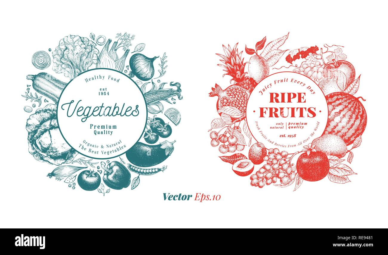 Two natural designs set. Fruits, berries and vegetables illustrations. Retro engraved style frame templates. Can be use for menu, label, packaging, farm market products. - Stock Vector