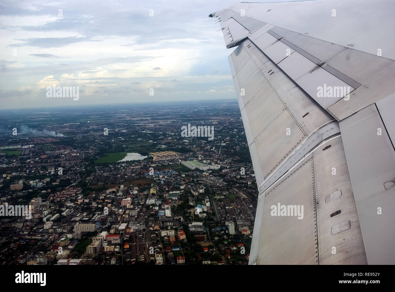 flying over Thailand, the view of Thailand from the window of the plane. Stock Photo