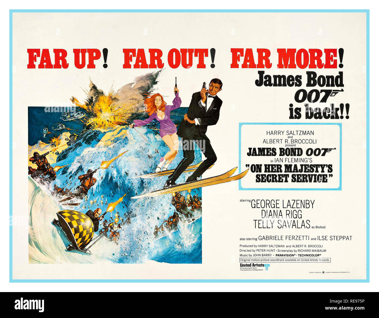Vintage Movie Poster 1969 James Bond 007 GEORGE LAZENBY On Her Majesty's Secret Service is a 1969 British spy film and the sixth in the James Bond series produced by Eon Productions. It is based on the 1963 novel of the same name by Ian Fleming. Following Sean Connery's decision to retire from the role after You Only Live Twice, Eon Productions selected an unknown actor and model, George Lazenby, to play the part of James Bond. During the making of the film, Lazenby announced that he would play the role of Bond only once. - Stock Image