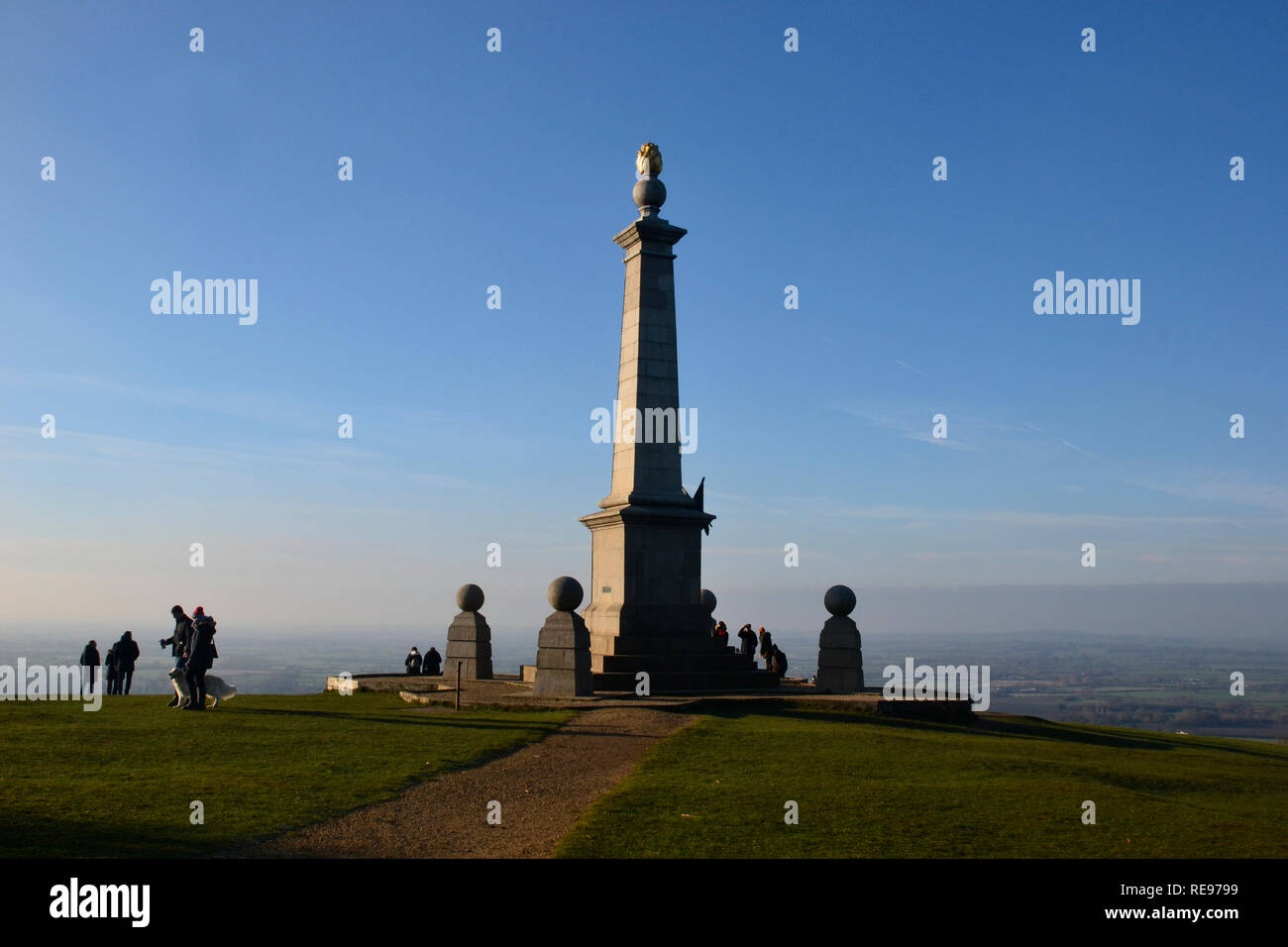 The Boer War Memorial on Coombe Hill, Wendover, Buckinghamshire, UK. Chilterns landscape. Monument - Stock Image