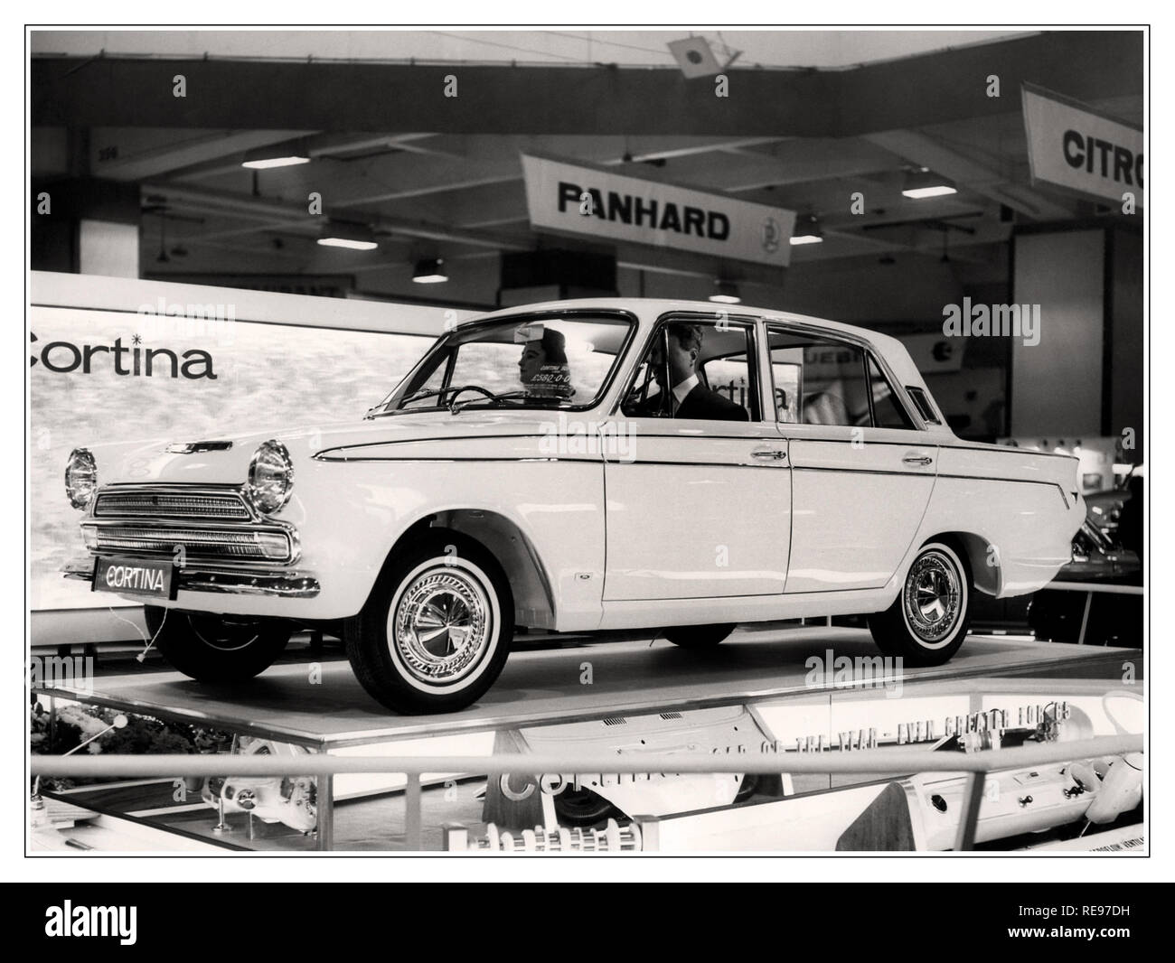 Ford Cortina motorcar at the 1964 Earls Court Motor Show The Ford Cortina Mk 1 was first on sale in 1962 and was voted car of the year in 1964. Stock Photo