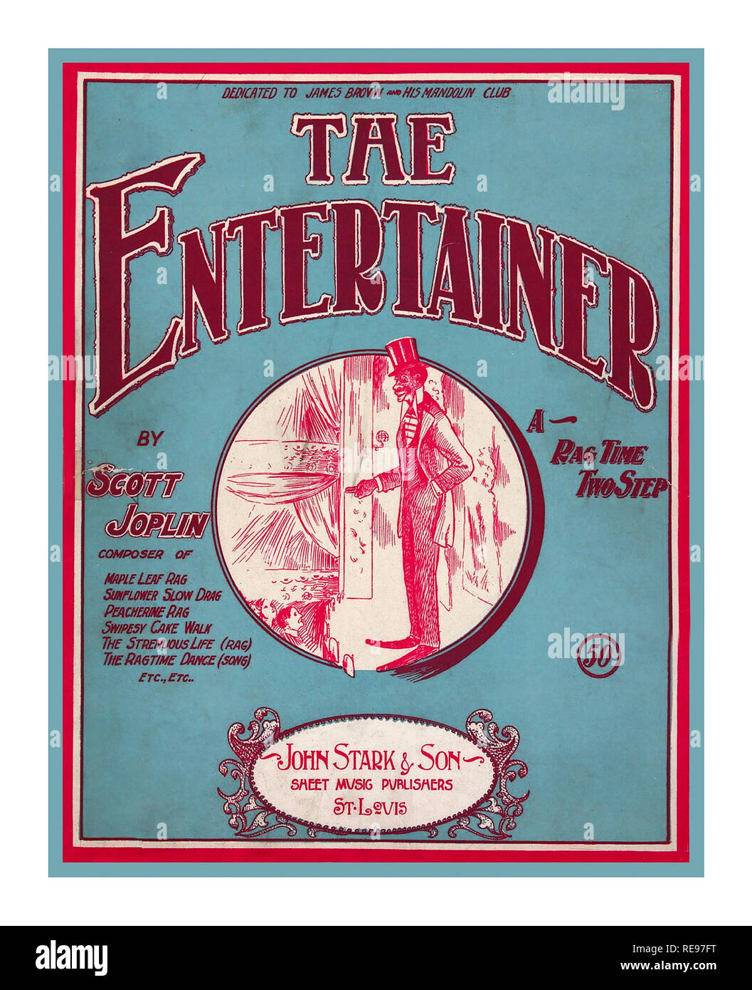 Vintage Sheet Music Front Cover for 'The Entertainer'  a 1902 classic piano rag written by Scott Joplin It was sold first as sheet music, and in the 1910s as piano rolls that would play on player pianos. The first recording was by blues and ragtime musicians, the Blue Boys in 1928, played on mandolin and guitar  As one of the classics of ragtime, it returned to international prominence as part of the ragtime revival in the 1970s, when it was used as the theme music for the 1973 Oscar-winning film The Sting. - Stock Image