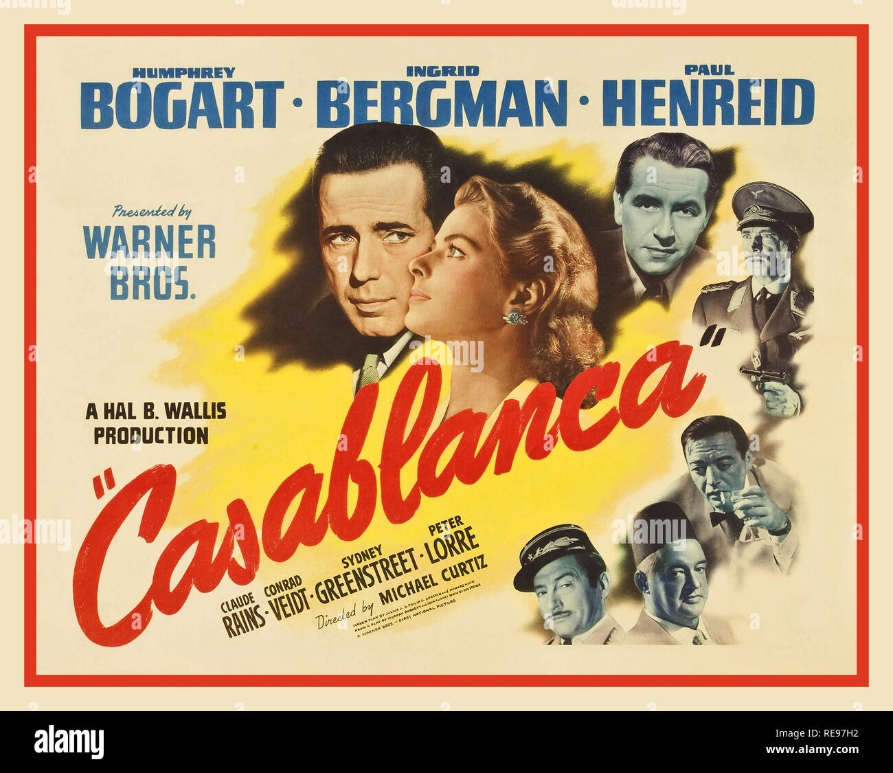 CASABLANCA 1940's Vintage Film Movie Poster Casablanca a 1942 American romantic drama film directed by Michael Curtiz. The film stars Humphrey Bogart, Ingrid Bergman, and Paul Henreid; it also features Claude Rains, Conrad Veidt, Sydney Greenstreet, Peter Lorre, and Dooley Wilson. Set during World War II, it focuses on an American expatriate who must choose between his love for a woman and helping her and her husband, a Czech Resistance leader, escape from the Vichy-controlled city of Casablanca to continue his fight against the Nazis - Stock Image