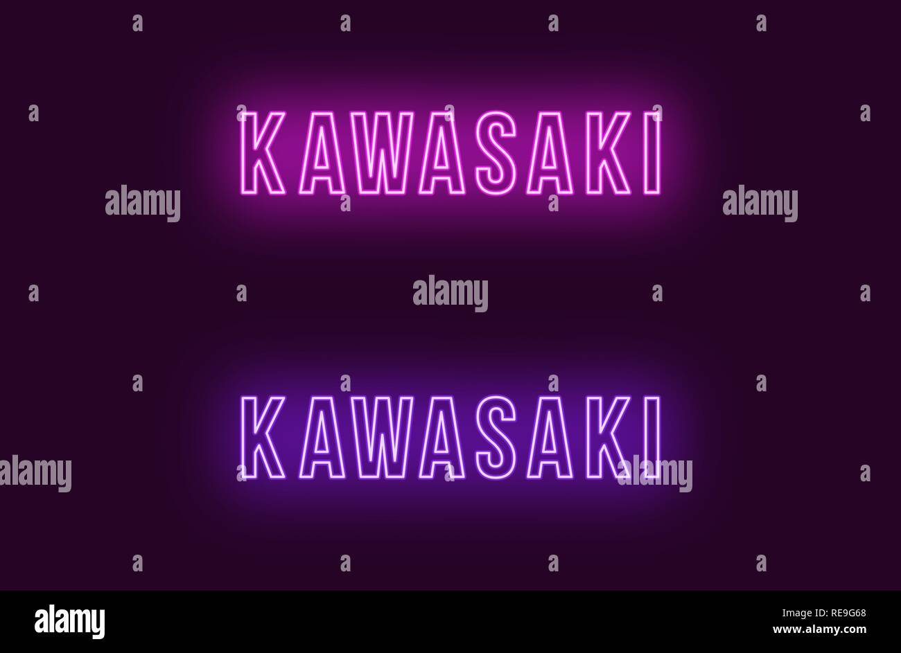 Neon name of Kawasaki city in Japan. Vector text of Kawasaki, Neon inscription with backlight in Bold style, purple and violet colors. Isolated glowin - Stock Vector