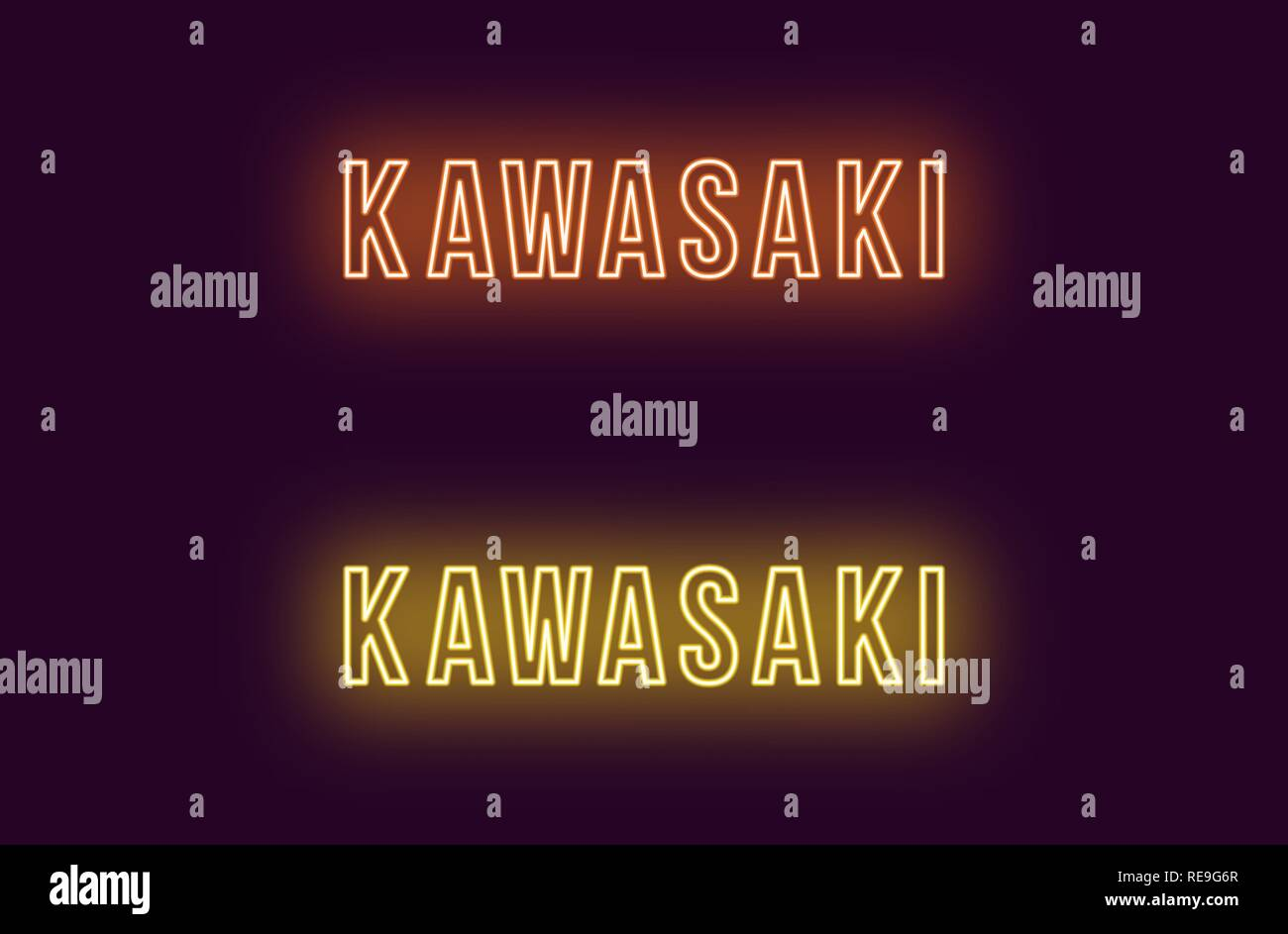 Neon name of Kawasaki city in Japan. Vector text of Kawasaki, Neon inscription with backlight in Bold style, orange and yellow colors. Isolated glowin - Stock Vector