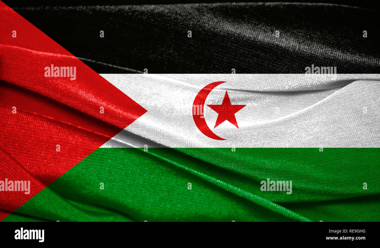 Realistic flag of Western Sahara on the wavy surface of fabric. Perfect for background or texture purposes. - Stock Image