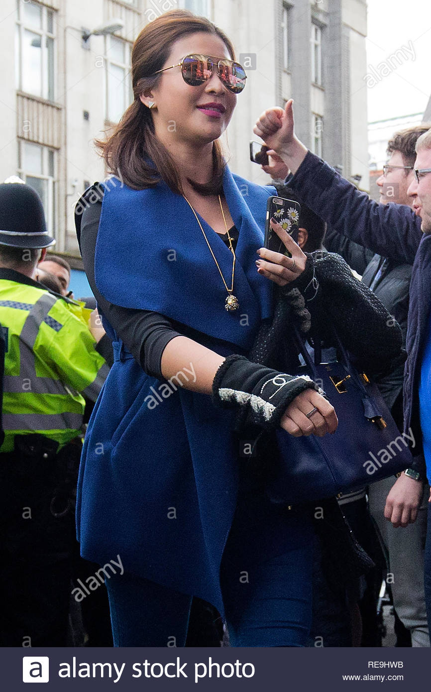 Nursara Suknama arrives at a restaurant in Leicester City centre on 3rd May 2016 the day after Leicester City FC won the Premiere League title. - Stock Image