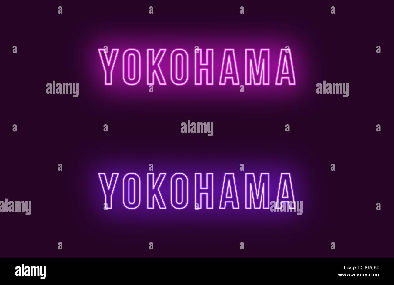 Neon name of Yokohama city in Japan. Vector text of Yokohama, Neon inscription with backlight in Bold style, purple and violet colors. Isolated glowin - Stock Vector