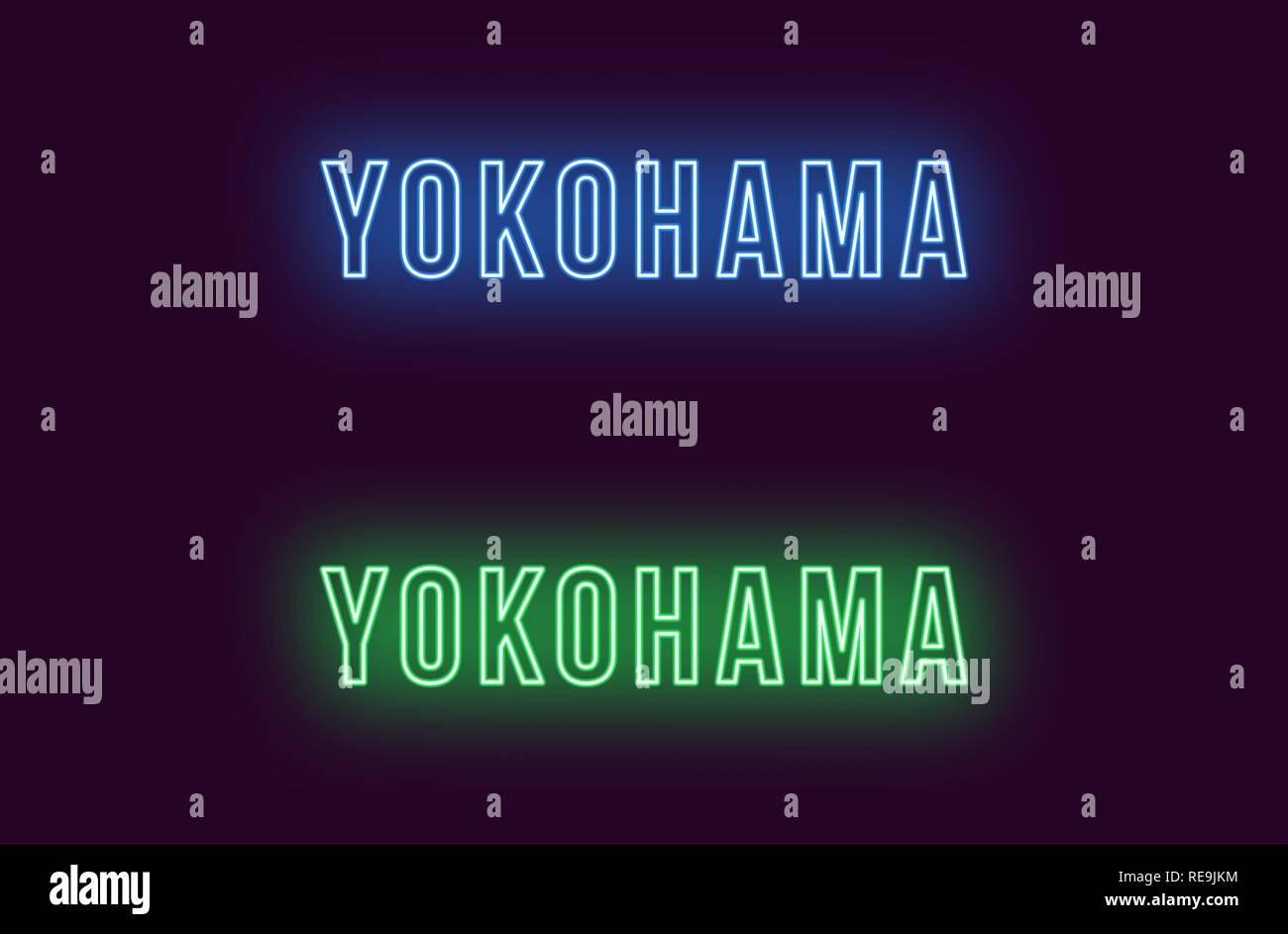 Neon name of Yokohama city in Japan. Vector text of Yokohama, Neon inscription with backlight in Bold style, blue and green colors. Isolated glowing t - Stock Vector