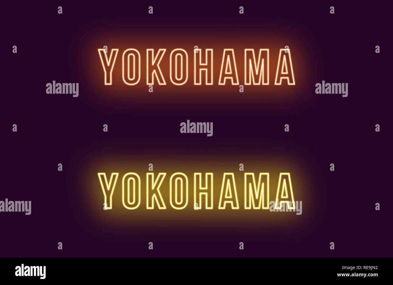 Neon name of Yokohama city in Japan. Vector text of Yokohama, Neon inscription with backlight in Bold style, orange and yellow colors. Isolated glowin - Stock Vector