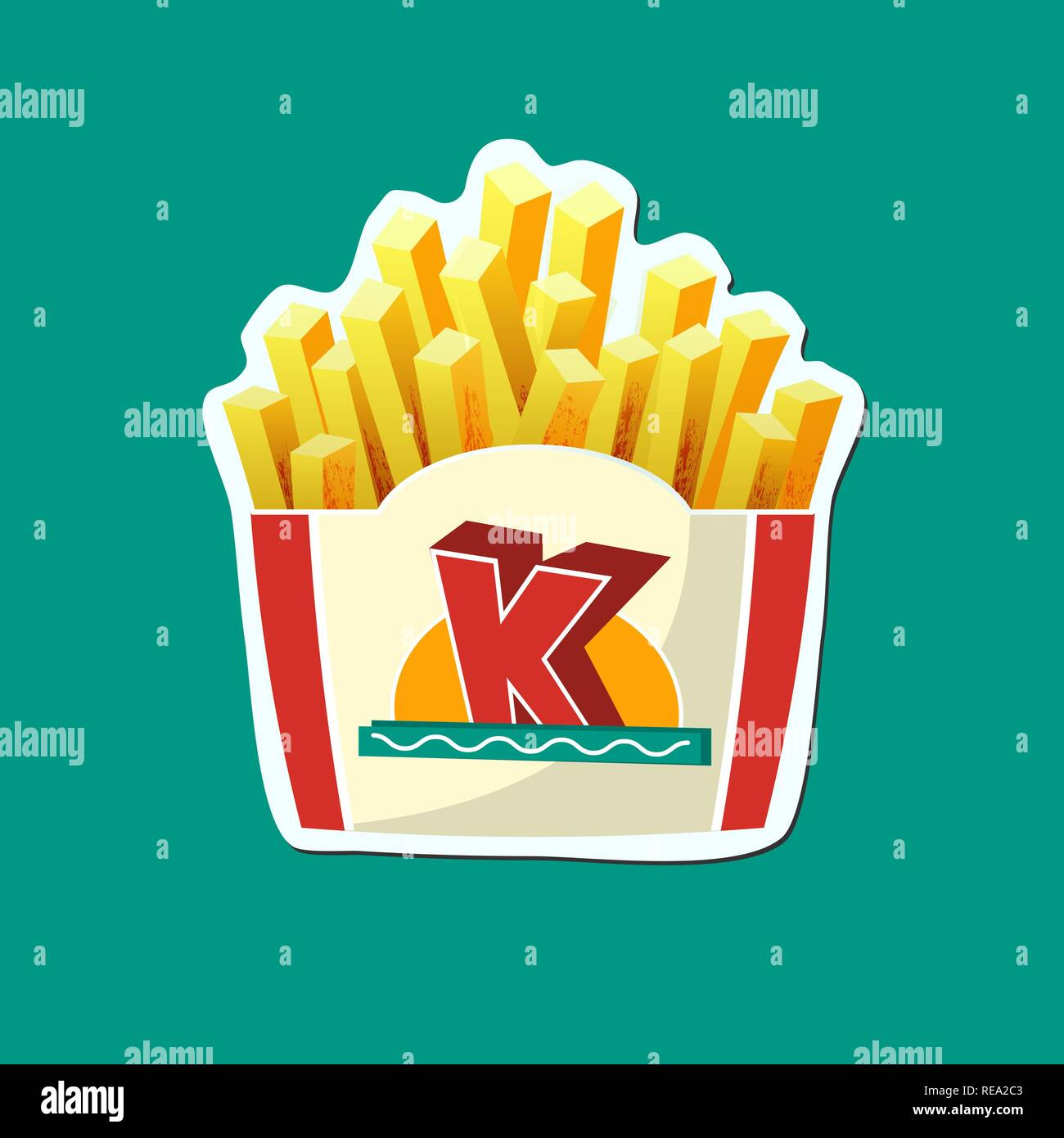 French Fries potato fast food in Carton Package Box Sticker on Green background - Stock Vector