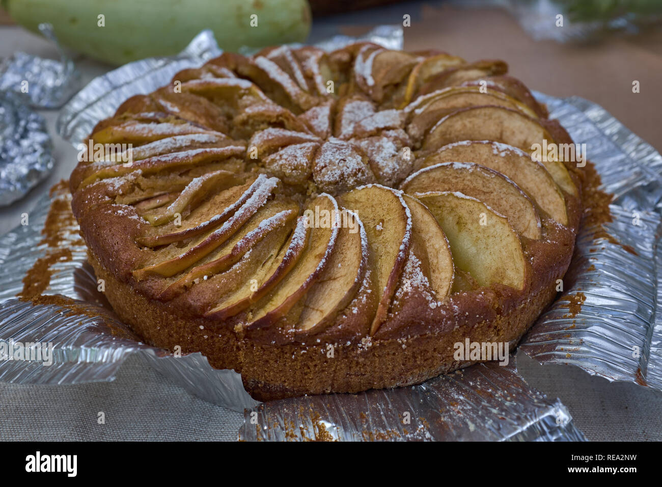 fresh hot homemade baked Apple Pie on a table. Macro - Stock Image