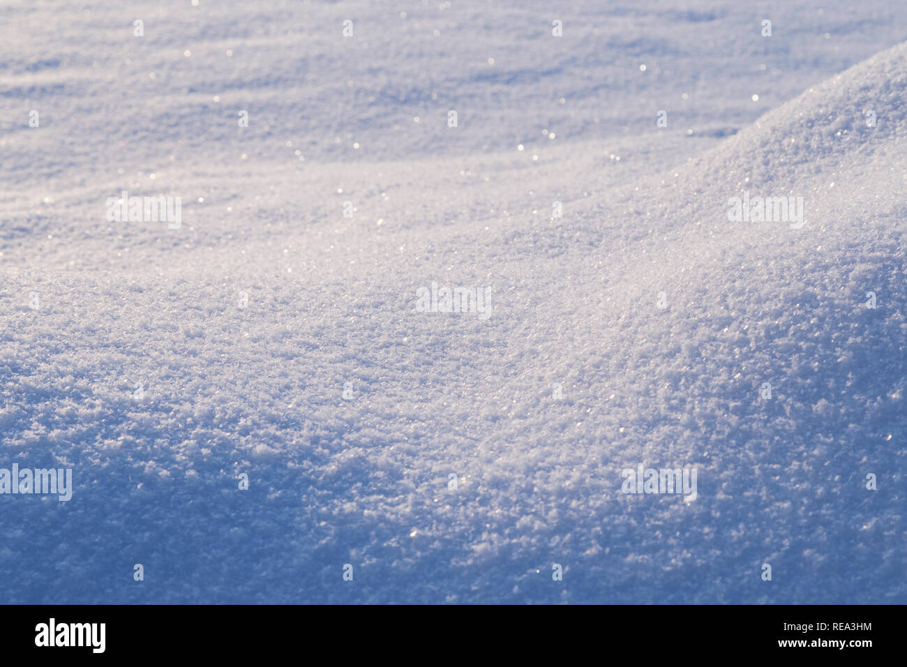 Fresh shiny snow on the ground and snowdrift on a sunny day, good as a winter season background. - Stock Image