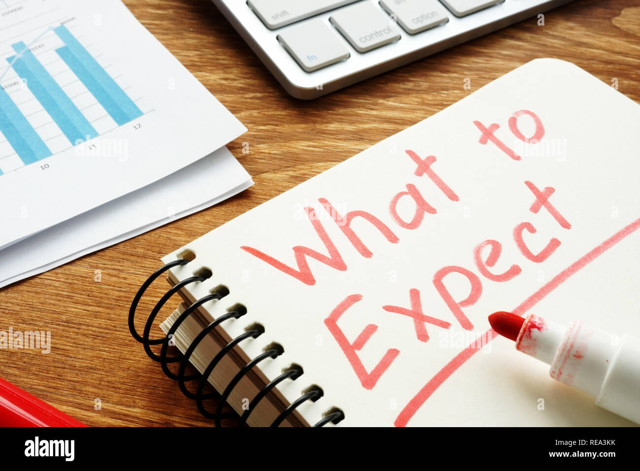 What to Expect. Business papers with prediction. - Stock Image