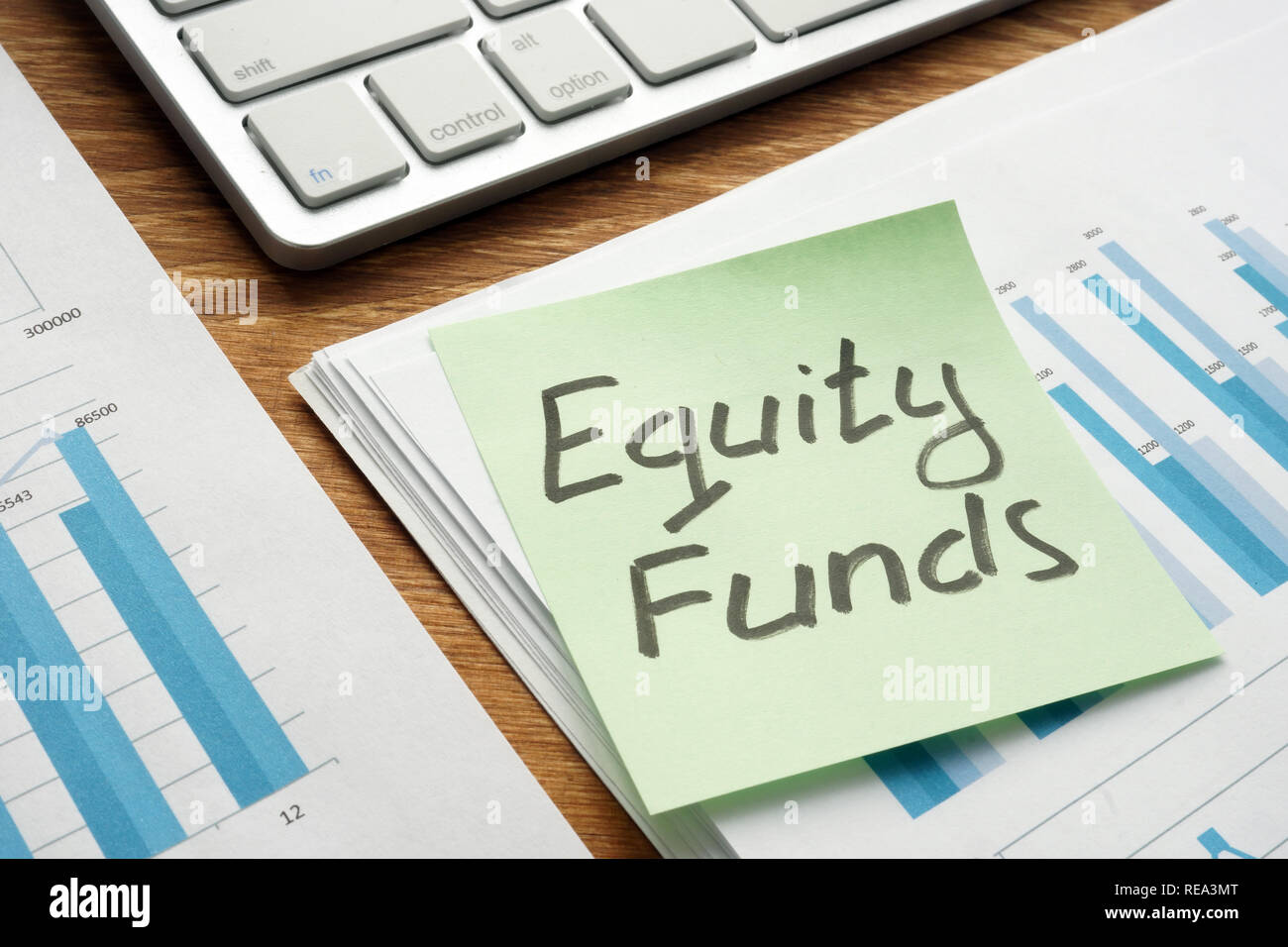Mutual equity funds written on a piece of paper. - Stock Image