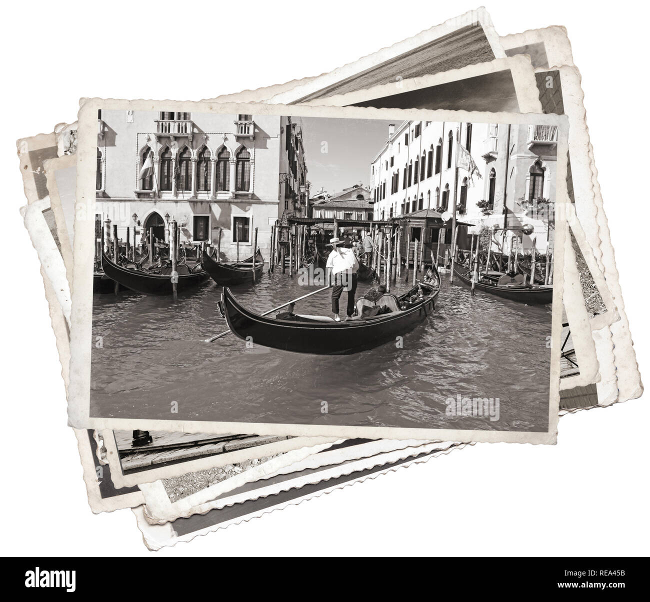 Stack of old vintage photos in Venice Italy - Stock Image