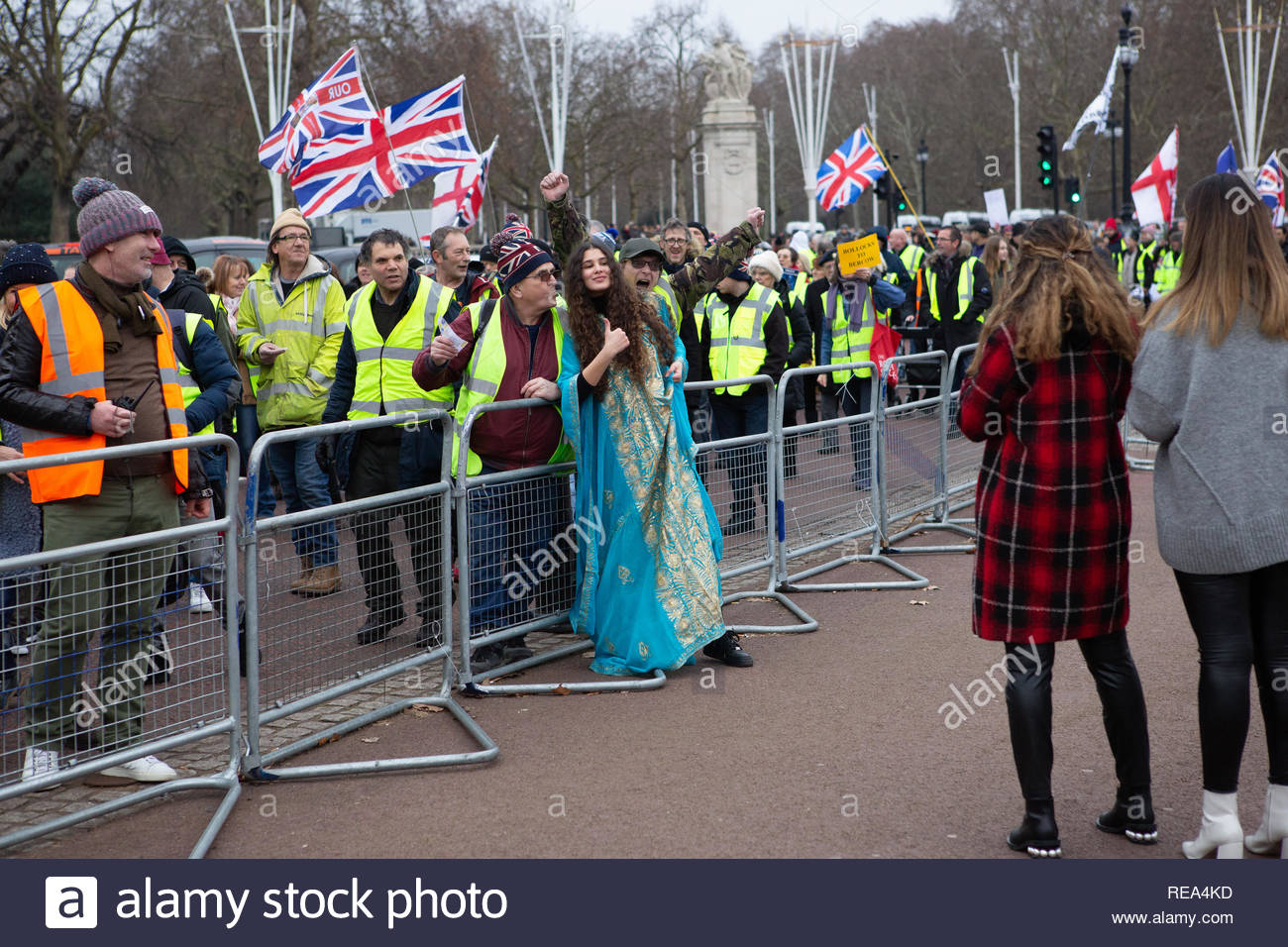 London, UK. 19 January 2019. A woman dressed in Asian dress has friends take photo of her with Yellow Vest protestors. Graeme Barbour/Alamy - Stock Image