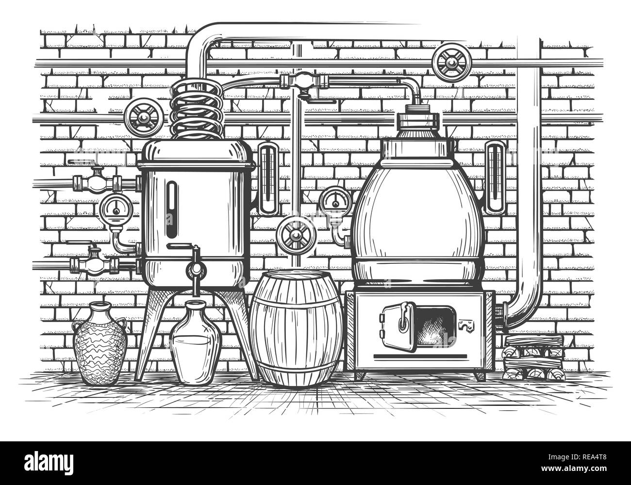 Vintage distillation equipment. Old sketch distil apparatus distilled whisky copper tank vintage metal moonshine, vector illustration - Stock Image