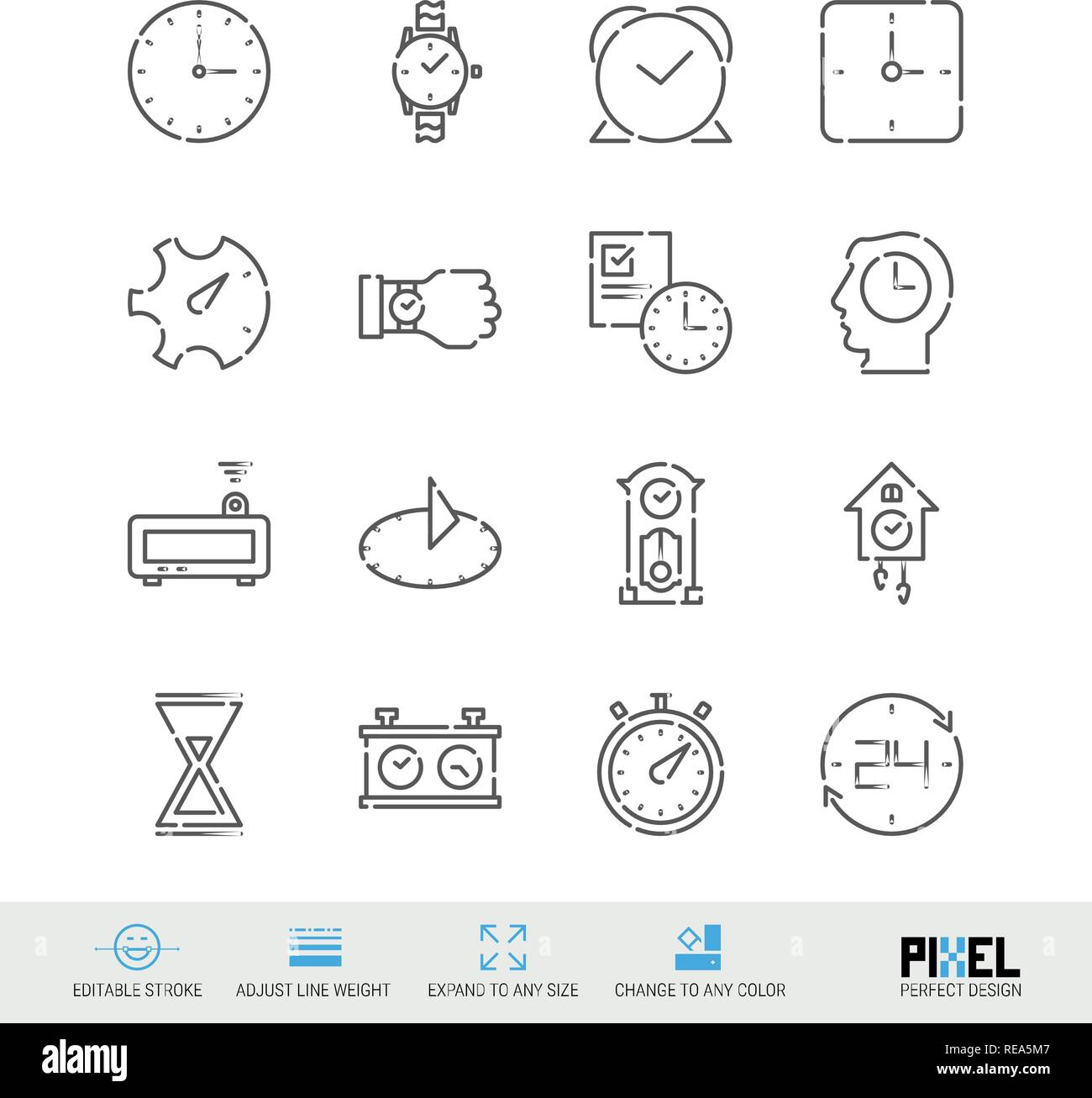 Vector Line Icon Set. Time Related Linear Icons. Clock Symbols, Pictograms, Signs - Stock Image