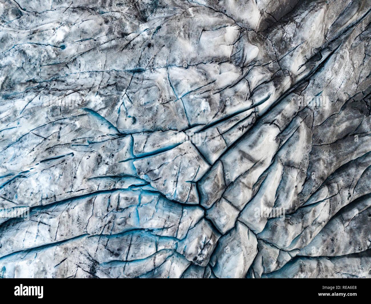 Drone view of the Fjallsarlon iceberg glacier lagoon in Iceland. Vatnajokull glacier aerial dramatic winter scene. - Stock Image