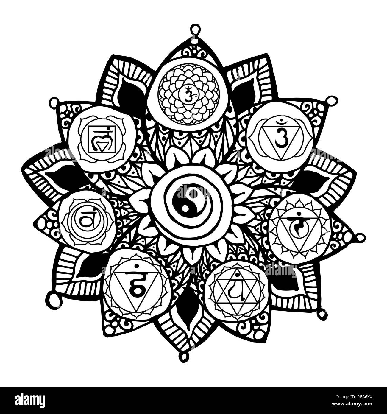 doodle style monochrome black line art lotus with yoga chakras pictogram and hieroglyph vector illustration for print design adult coloring page template REA6XX