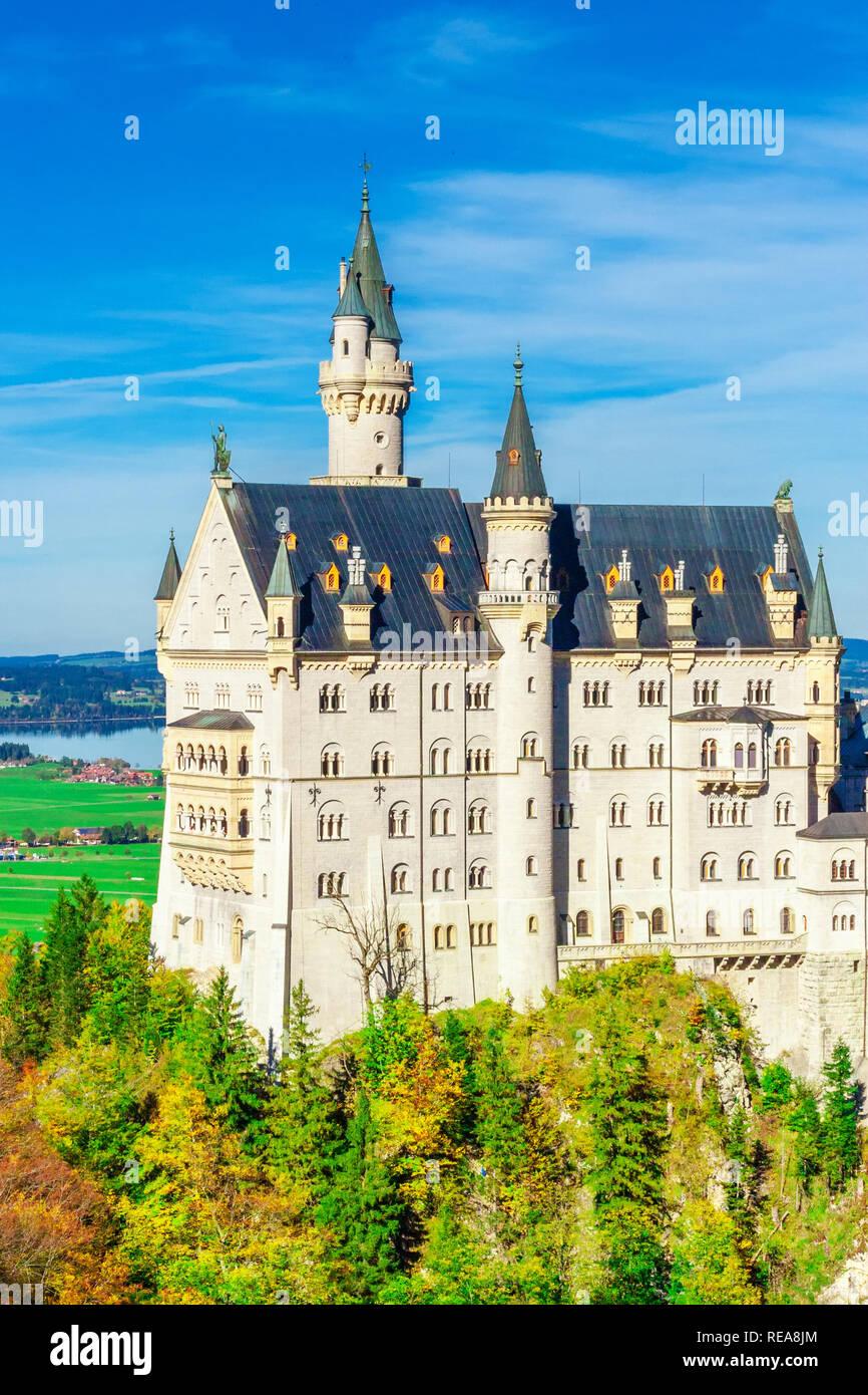Neuschwanstein castle in early autumn near Fussen southwest Bavaria, Germany. - Stock Image