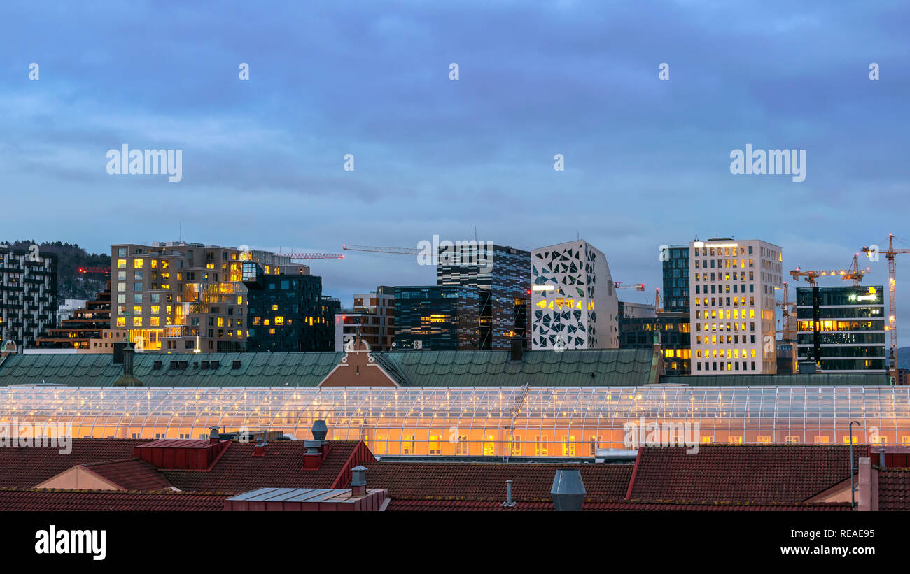 Oslo Norway, night city skyline at business district and Barcode Project - Stock Image