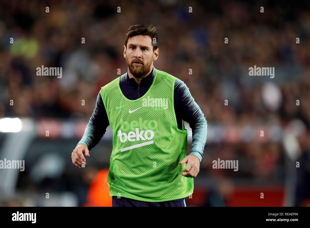 Barcelona, Spain. 20th Jan, 2019. FC Barcelona's Argentinian striker Lionel Messi during the Spanish first division LaLiga Santander 20th round march between FC Barcelona and Leganes, at the Camp Nou stadium, in Barcelona, Catalonia, Spain, 20 January 2019. Credit: Toni Albir/EFE/Alamy Live News Stock Photo