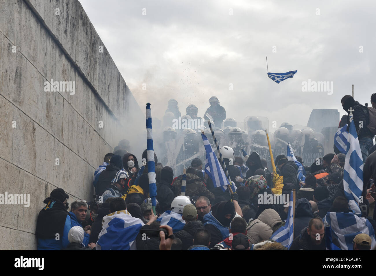 Athens, Greece  20th Jan 2019  Protesters clash with riot police