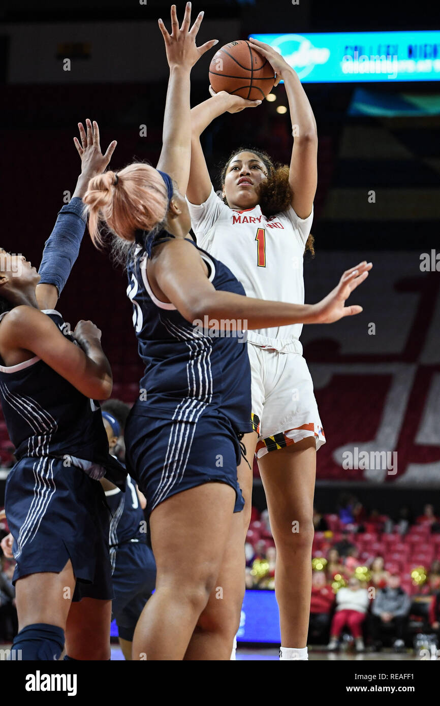College Park, Maryland, USA. 20th Jan, 2019. Maryland Terrapins forward SHAKIRA AUSTIN (1) shoots over Penn State Lady Lions forward LAUREN EBO (33) during the fourth quarter at Xfinity Center. Credit: Terrence Williams/ZUMA Wire/Alamy Live News - Stock Image
