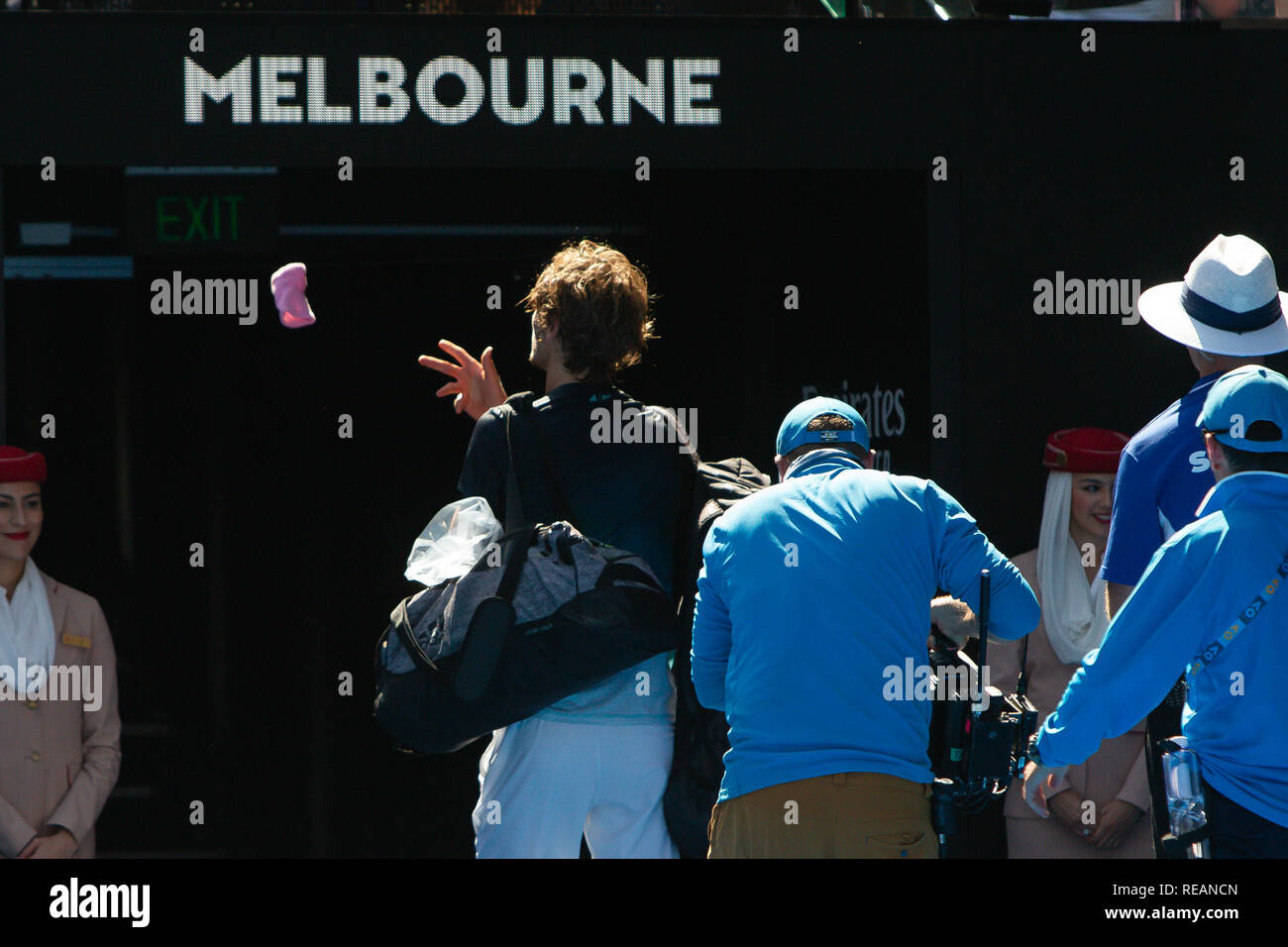 Melbourne, Australia. 21th Jan, 2019. Alexander Zverev from Germany lost his 4th rd match against Milos Raonic from Canada at the 2019 Australian Open Grand Slam tennis tournament in Melbourne, Australia. Frank Molter/Alamy Live news Stock Photo