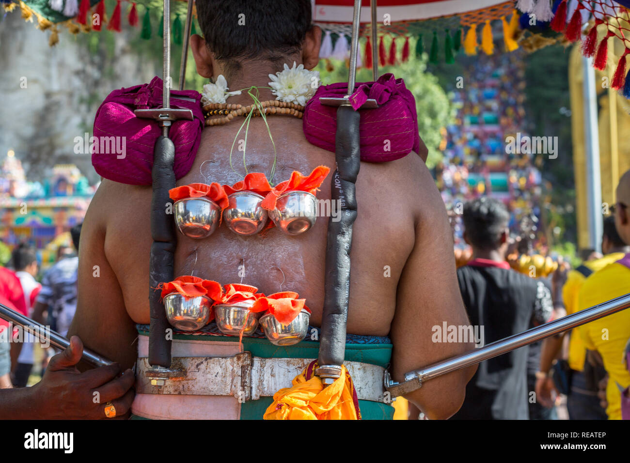 Kuala Lumpur, Malaysia 20 January 2019 - Hindu devotee carries