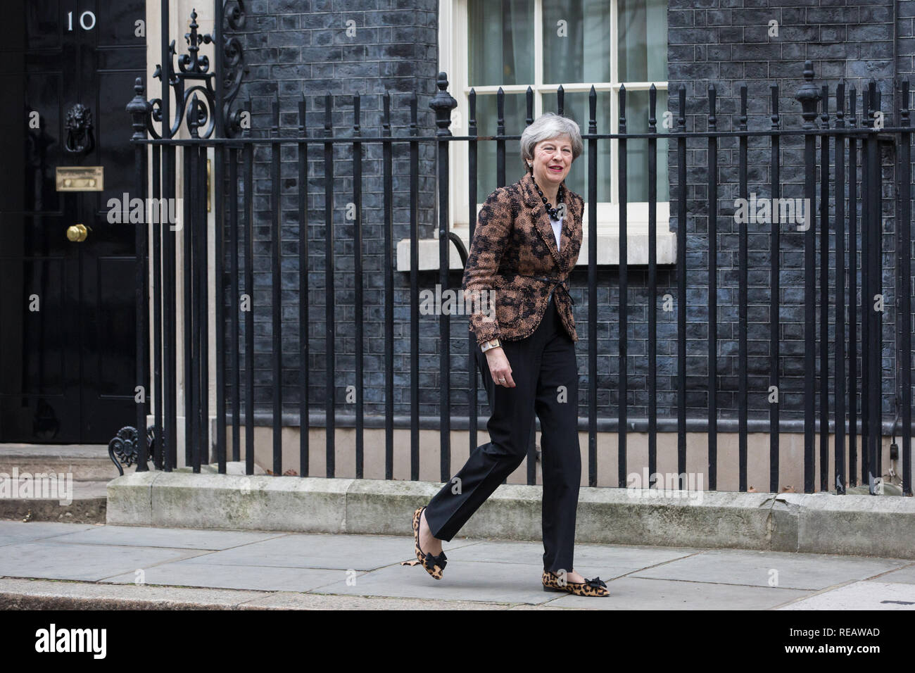 London, UK. 21st January, 2019. Prime Minister Theresa May prepares to welcome the Prime Minister of New Zealand Jacinda Ardern to 10 Downing Street for talks. Credit: Mark Kerrison/Alamy Live News - Stock Image