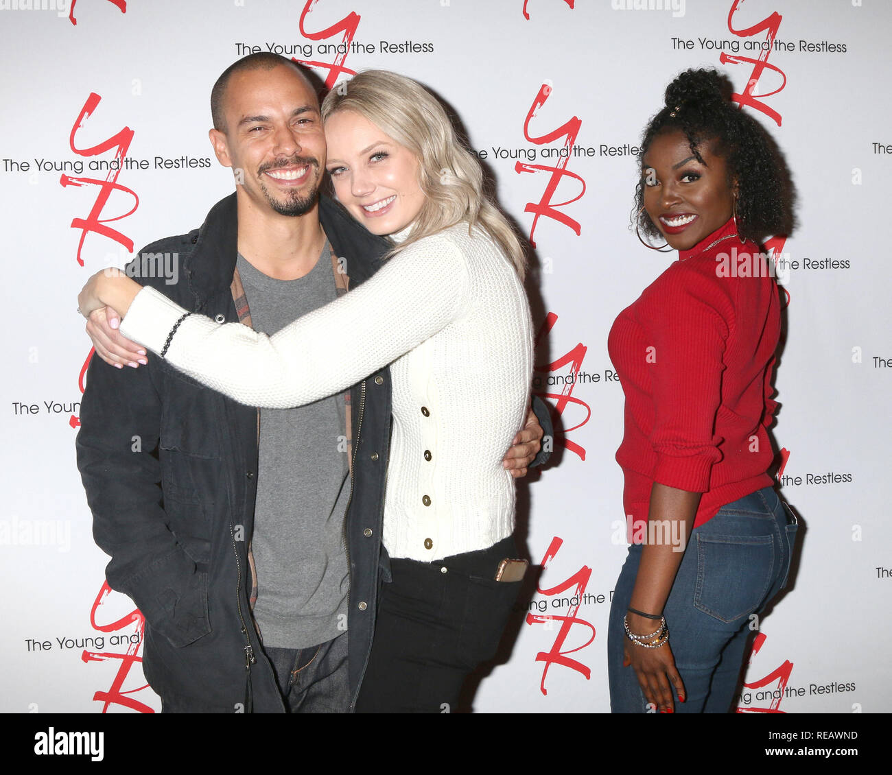January 17, 2019 - Los Angeles, CA, USA - LOS ANGELES - JAN 17:  Bryton James, Melissa Ordway, Loren Lott at the Young and the Restless Celebrates 30 Years at #1 at the CBS Television CIty on January 17, 2019 in Los Angeles, CA (Credit Image: © Kay Blake/ZUMA Wire) - Stock Image