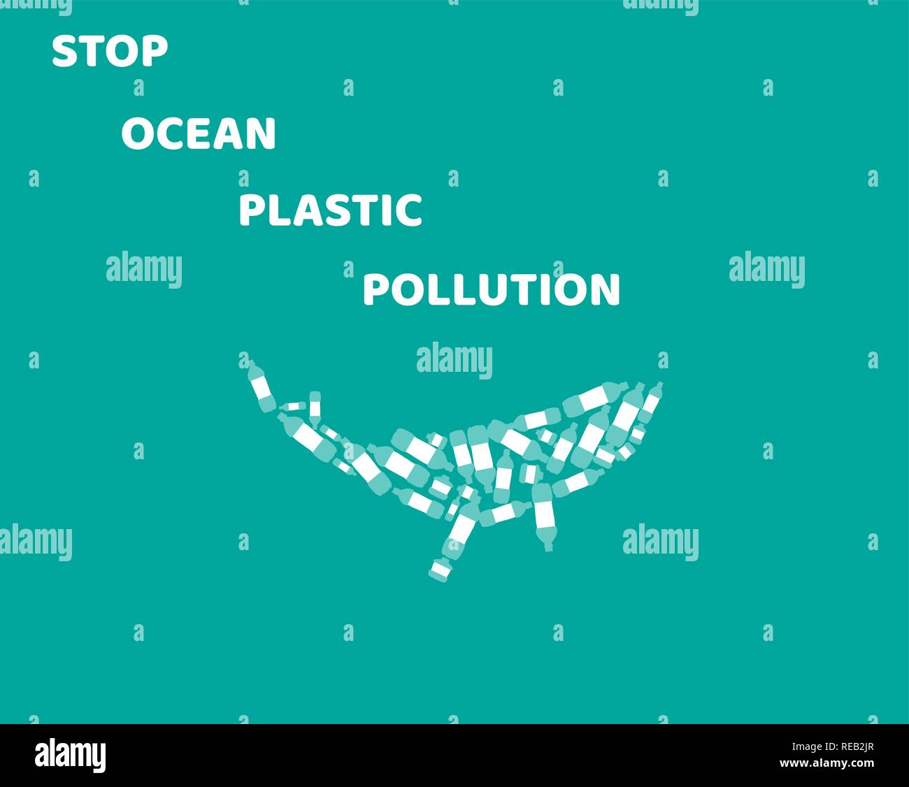vector illustration of stop ocean plastic pollution. ecology, Earth Day. - Stock Vector