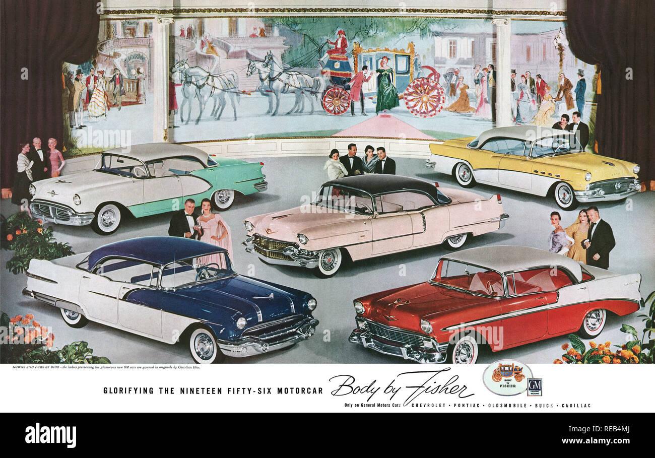 1956 U.S. advertisement for Fisher automobile bodywork. - Stock Image
