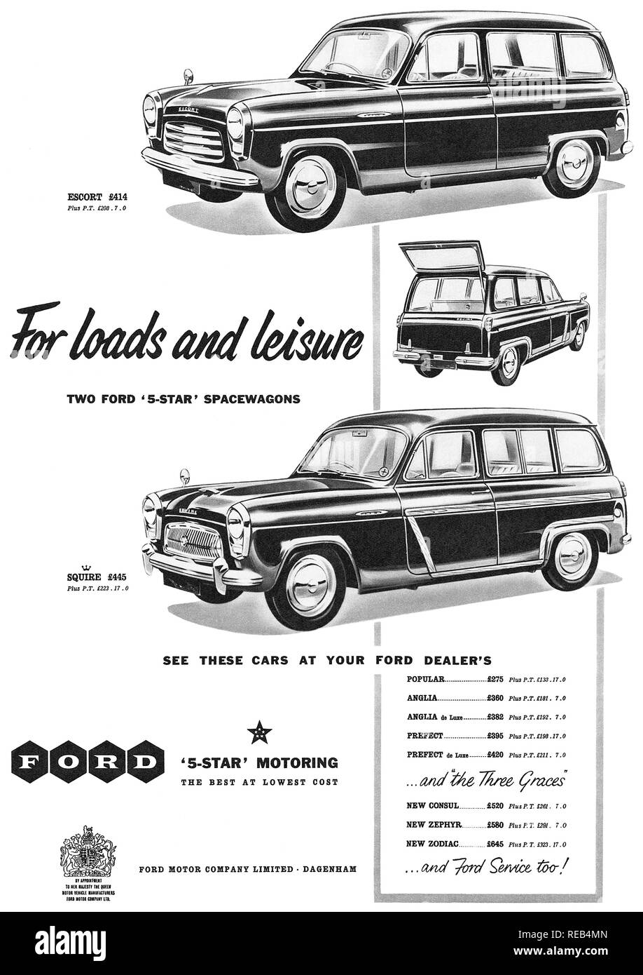 1956 British advertisement for Ford Spacewagons. - Stock Image
