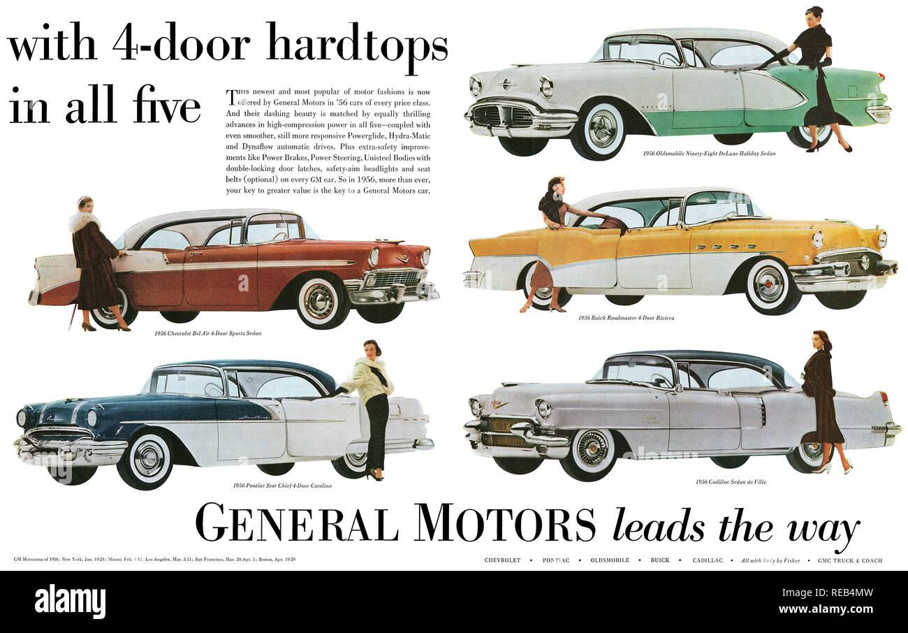 1956 U.S. advertisement for General Motors automobiles. - Stock Image