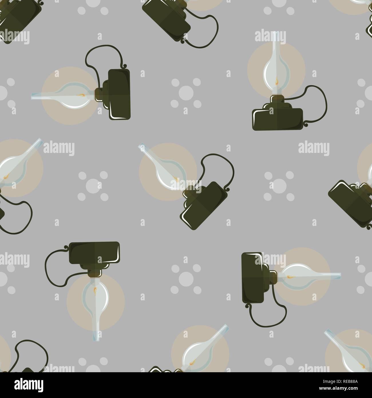 Seamless pattern Retro glowing kerosene lamp Oil lamp. 10 eps - Stock Vector