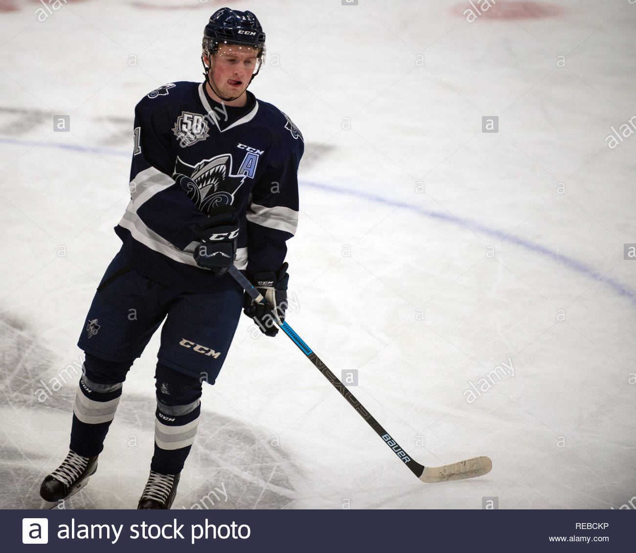 Gatineau, Canada - January 19, 2019:  Alexis Lafrenière of the Rimouski Océanic warms up before the Quebec Major Jr League game against the Gatineau Olympiques at the Robert Guertin Arena.  He is currently touted as the first pick in the 2020 NHL draft. male, boy - Stock Image