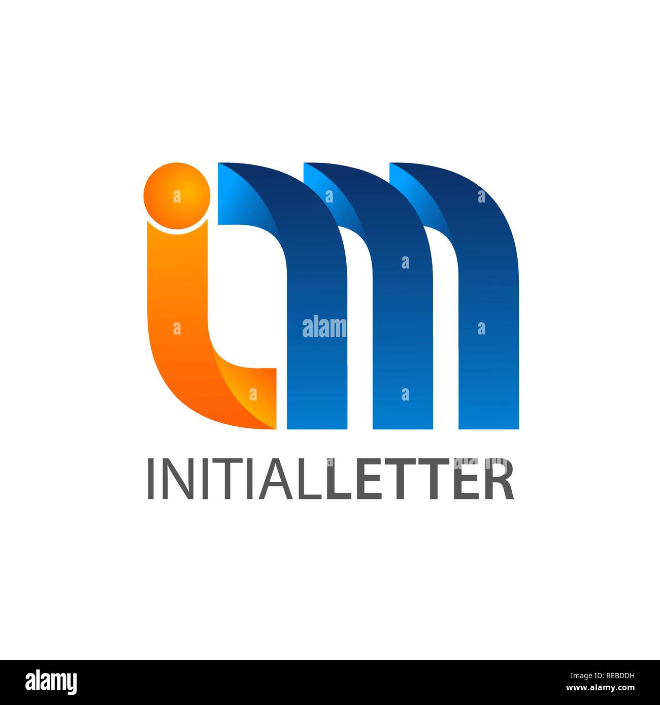 Initial letter im curved logo concept design. Symbol graphic template element vector - Stock Image
